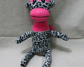 Clearance  Handmade Pink Leopard Sock Monkey Stuffed Animal Doll Baby Toys