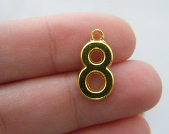 10 Number 8 charms gold plated