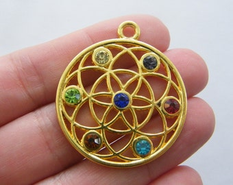 BULK 5 Seed of life charms gold tone GC22