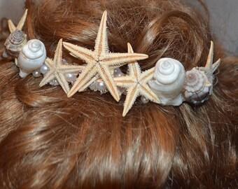 Beach Wedding Crown, Starfish Crown, Seashell Tiara, Wedding Flower Crown, Beach Headband, Bridal Crown, Flower Girls Beach Hair Accessories