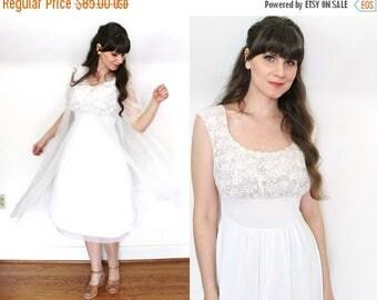ON SALE 1950s Peignoir Set / 50s White Nylon Chiffon Peignor and Nightgown Bridal Lingerie Set