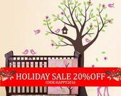 Holiday Sale - Tree with Birds and Fawn Decal Set - Kid's Nursery Room Wall Decal