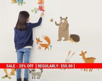 Holiday Sale - Woodland Nursery, Woodland Animals, Forest Animals, Animals Wall Stickers, Nursery Wall Decals, Peel and Stick Stickers