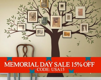 Memorial Day Sale - Wall Decal Family Tree Wall Decal Sticker Family Photo Tree - Two colors - Vinyl Wall Sticker Photo Tree Decal Tree