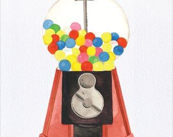 Gumball Machine Unframed Watercolor Art Print