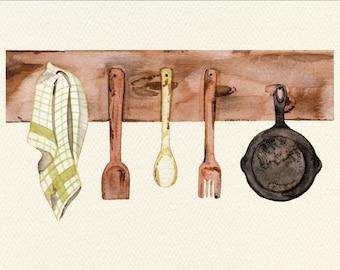 Rustic Kitchen Unframed Watercolor Art Print