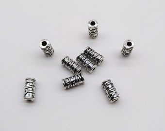 10 pcs Tibetan Tube beads, Tube beads, Carving beads, Tube connector, Tube spacer, Antique silver beads