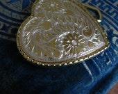 silver heart, western belt buckle