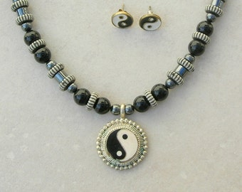 Yin-Yang Pendant & Earrings, Hematite and Black Onyx Beads, Striped Lucite Disks, Necklace Set by SandraDesigns