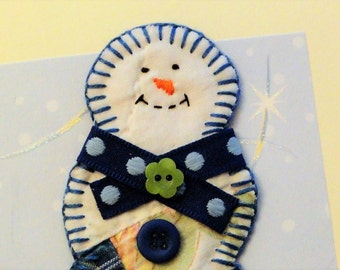 Handmade snowman card, Christmas holiday card, winter paper goods, OOAK thank you note, blue vintage quilt, greeting card