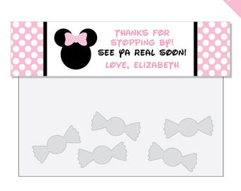 Baby Pink Minnie Mouse Party - Personalized DIY printable treat bag label