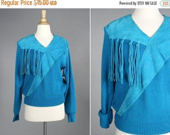 SALE FINAL SALE Vintage Ocean Blue Suede Fringe Pullover- Knit Leather 1980s long sleeve cowgirl western square dance- Size Small or Medium
