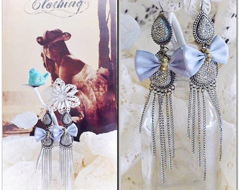 Sale Gypsy Bohemian earrings, french country Bow romantic dangle earrings, Boho jewelry, free people upcycled jewelry, True rebel clothing