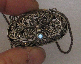 Sterling Marcasite Hinged Purse Necklace