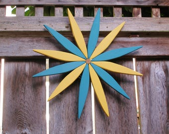 Wooden Starburst - Cheerful Teal & Yellow - for Outdoor Walls, Fences, Doors - Handcrafted by Laughing Creek