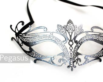 Silver and Black Cat Woman Venetian Filigree Scroll work Metal  Masquerade Mask (1 Piece, 5 color options) Aluminum Laser Cut Mask Made