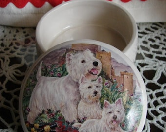 Cheerful Westie Family in the Garden! 4 Inch Ceramic Button /Jewelry/Paperclip Box