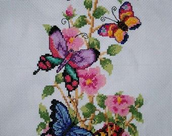 New Finished Completed Cross Stitch - Butterfly tree - A37e