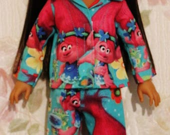 Welliewishers Poppy Troll Cotton Pajamas fits 14.5inch dolls - Proudly Made in America by mamastwinsees