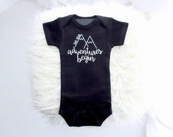 Adventure bodysuit | cute boy clothes | baby boy outfit | cute boy tee | mountian shirt | boy first birthday | boho boy bothday