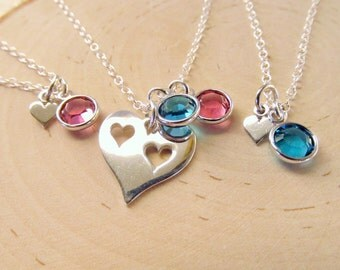 Mother Daughters Gift, Personalized Sterling Silver Heart Necklace Set of 3, Mother Daughter Necklaces with Birthstones, Mom and Daughters