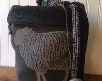 Wool Trundle Bag-  Sheep Design, Roll Down Top Knitting Project Bag