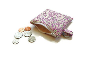 Coin purse with key ring, purple teal white, small coin pouch, cotton floral purse, change purse, wallet money holder