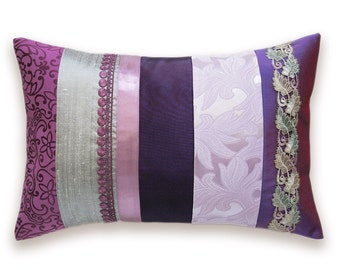 Lavender Silver Mauve Eggplant Purple Lumbar Pillow Case 12 x 18 in IRMA DESIGN Limited Edition