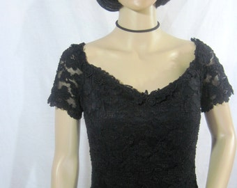 1990's Black Flocked Lace Cocktail DRESS by NIGHT WAY Size 10