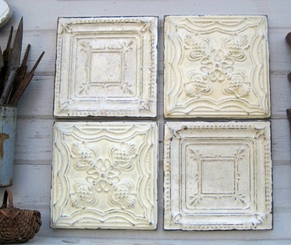 Tin ceiling tile set of 4 12 x 12 framed for Individual ceiling tiles for sale