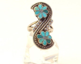 Zuni Silver and Turquoise Ring, Native American Ring, Large, Vintage