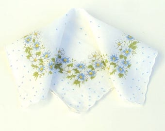 Vintage Handkerchief, Blue Polka Dots and Flowers