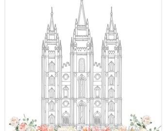 Salt Lake City LDS Temple. Floral Temple Picture, Lds Temple, LDS Printable, Timpanogos Temple,  Floral LDS Temple Print,
