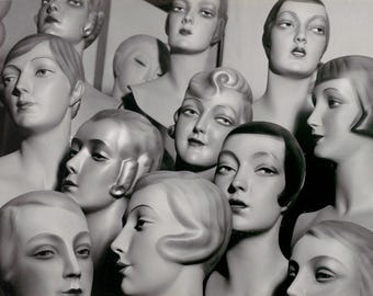Kitsch Art Photo Mannequin Heads Female Wig Forms Showing Different Hair Styles from 1920s 30s Germany Black & White Photography Photo Print