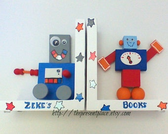 Hand painted wooden robot bookends, space themed nursery,personalized bookends,robot bookends,boys bookends,kids bookends,childrens bookends