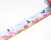 "Limited Edition mt Japanese Washi Masking Tape - mt ex in Yamagushi ""Cosmos & Butterfly"" 15mm for packaging, tag making, scrapbooking"