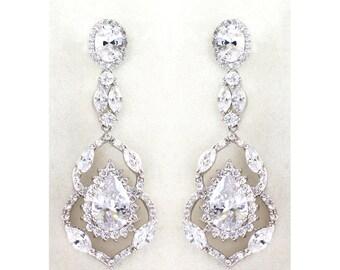 Luxury Crystal dangle Earrings, Silver Chandelier bridal earrings, Rhodium Wedding Bridesmaid jewelry - Charlotte Earrings