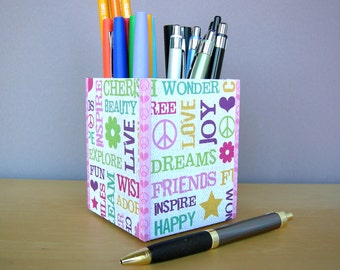 Pencil Holder, Love and Peace Pencil Cup,Desk Accessories,Dorm Decor, Gifts For Her, Gifts Under 15