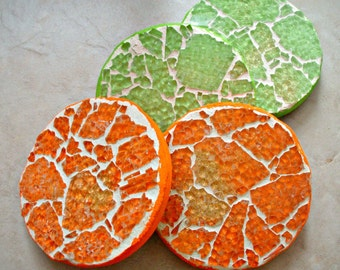 Mosaic Glass Coasters, Set of 4, Tangerine, Lime, Trivet, Glass Trivets, Coasters, Gift, Glass Coasters, Mosaic Trivets - 4 Inches Round