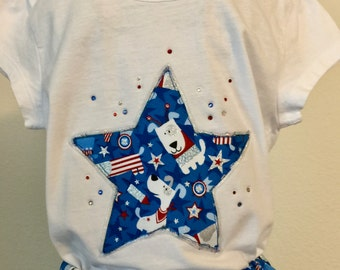 Red, white and blue doggies twirly skirt & shirt set perfect for 4th of July, Disney, birthday parties, and patriotic celebrations!
