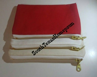 SALE! Canvas Makeup bags with gold/brass zipper Blank and ready to decorate with HTV, Embroidery, Paint