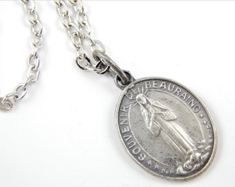 Our Lady of Beauraing Necklace - Vintage Catholic Medal Jewelry - Virgin Mary Medallion - Religious Charm Necklace - BR20