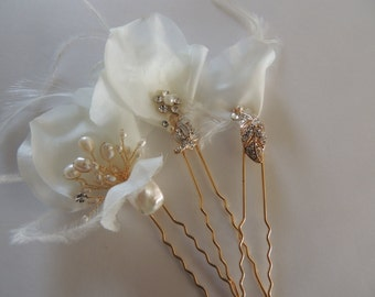 Vintage Inspired Bridal Wedding Art Deco Crystal Hair Pins Ivory and Gold