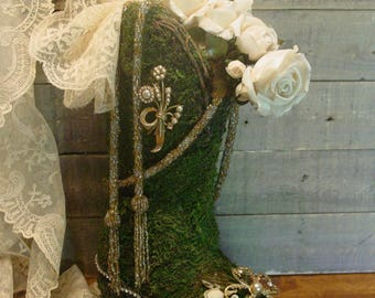 Womans Boot - Altered Art - Vintage Jewelry - Faux Greenery Shoe - Rhinestones - Cowgirl Boot - Romantic Decor - Cottage Chic
