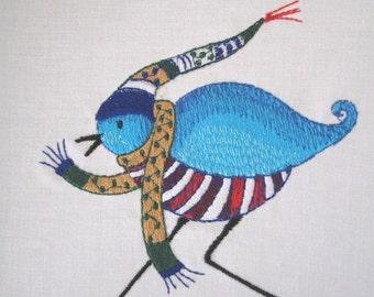 8 Winter Birds Embroidered Quilt Blocks