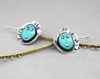Long artisan flower earrings, modern, botanical, contemporary, floral, silver, brass, enamel, urban, organic, tomlindesign, architectural