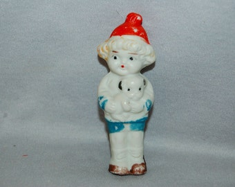 Puppy and Girl Bisque Doll / Frozen Charlotte / Vintage / penny doll / vintage dolls