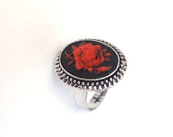 Gothic Rose Ring in Antiqued Silver, Black and Red Rose Ring, Elizabethan Ring, Adjustable Ring