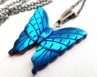 Butterfly Necklace, Blue Rainbow Butterfly Stone Necklace, Titanium Rainbow Coating, Gunmetal Chain, Butterfly Jewelry