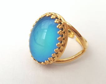 Gold Mood Ring, Colour Changing Mood Stone Ring, Gold Plated, Adjustable Ring, Quality Crown Setting, Also in Sterling Silver and Rose Gold